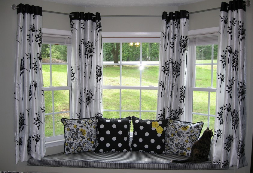awesome pattern of white black curtains windows