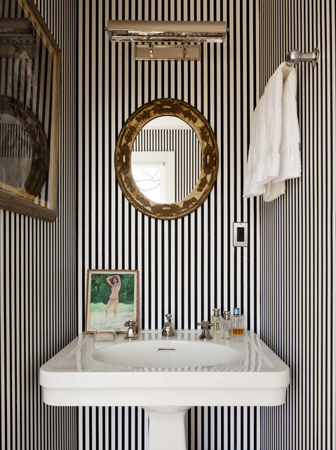 White and Black Powder Room Ideas