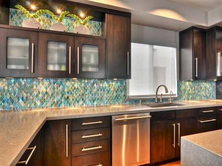 Multicoloured Subway Kitchen Backsplash