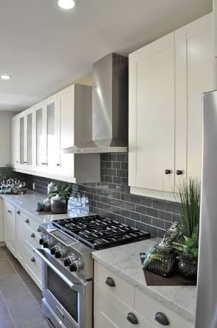 Grey Glossy Subway Tile Backsplash