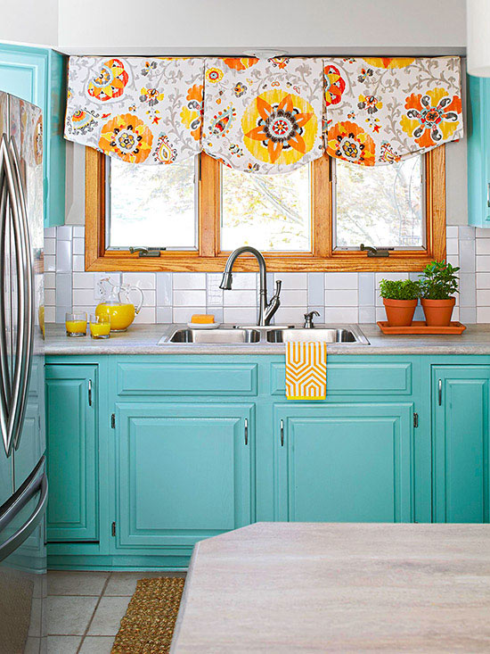 White and Blue Subway Tile Backsplash