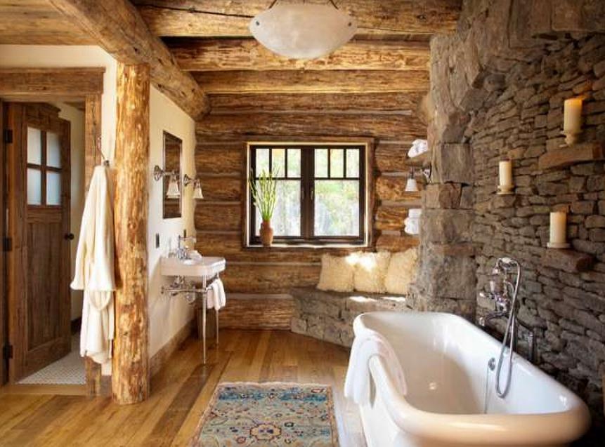 Bathroom Log Cabin House
