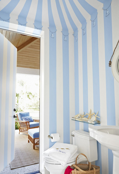 Stripped Blue and White Powder Room